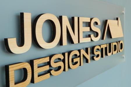 Acrylic Panel & 3-Dimensional Wooden Sign for Jones Design Studio/ Franklin/ 12-Point SignWorks