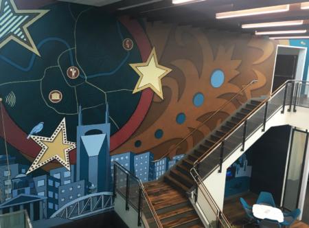 Nashville-themed wall mural for Deloitte. 12-Point SignWorks - Franklin, TN