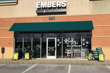 Custom window graphics for Embers Grill and Fireplace Store. 12-Point SignWorks - Franklin, TN