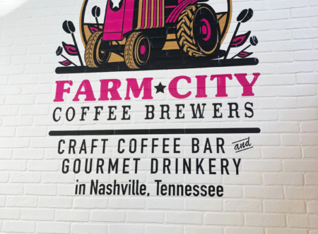 Custom textured wall graphic for Farm City Coffee in Nashville, TN. 12-Point SignWorks - Franklin, TN