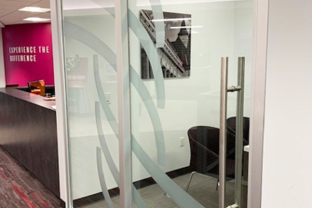 Custom Etched Vinyl for 1st Summit Bank by 12-Point SignWorks.