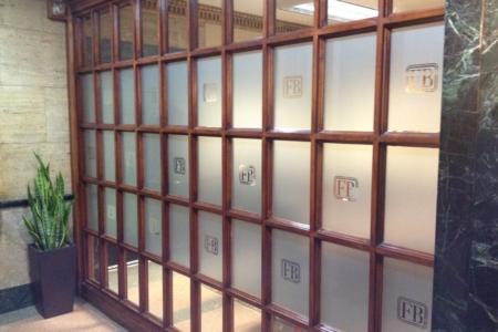Custom etched glass window graphics. 12-Point SignWorks - Franklin TN