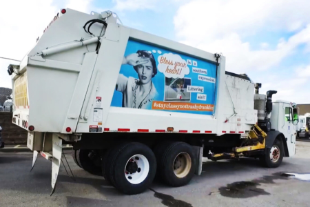 Partial Truck Wrap for the City of Franklin's Sanitation and Environmental Services Division.