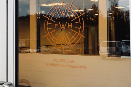Copper Window Decals for Franklin Wheelhouse by 12-Point SignWorks in Franklin, TN.