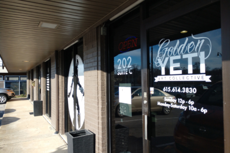 Custom Window Graphics for the Golden Yeti Art Collective by 12-Point SignWorks in Franklin, TN.