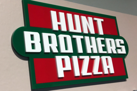 Custom Acrylic Logo for Hunt Brothers Pizza Headquarters in Nashville/ Timeline Wall Display