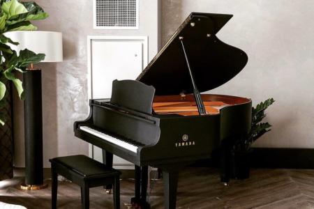 Custom Piano Wrap for the Hutton Hotel/ Yamaha Baby Grand Piano
