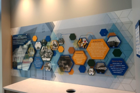 Dimensional History Wall Display for Rosedale Federal Savings & Loan Association in in Townson, MD/ 12-Point SignWorks & NewGround