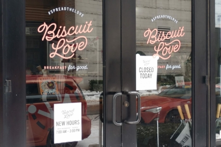 Branded Storefront Window Graphics for Biscuit Love - The Gulch/ 12-Point SIgnWorks
