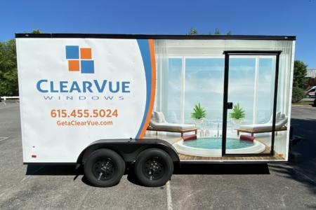 Custom Trailer Wrap for ClearVue Windows in Nashville, TN installed by 12-Point SignWorks