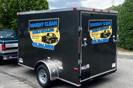 Trailer Decals for Squishy Clean Mobile Detailing: Installed by 12-Point SignWorks/ Franklin, TN