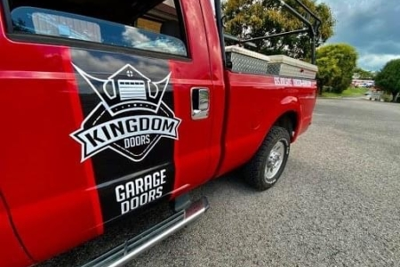 Truck Decals for Kingdom Doors Installed by 12-Point SignWorks