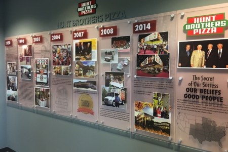 Architectural display wall with standoffs for Hunt Brothers Pizza. 12-Point SignWorks - Franklin TN