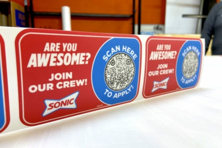 Custom Menu Board Decals/ Hiring Decals for Sonic Drive-In Franklin, TN/ 12-Point SignWorks
