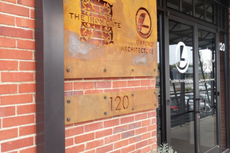 Custom Corten Steel Sign for The Iron Gate and Oxford Architecture/ Nashville/ Exterior Signage/ 12-Point SignWorks