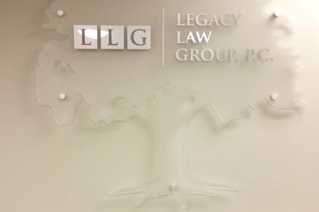 Frosted Acrylic Logo Sign for the Legacy Law Group/ Nashville/ 12-Point SignWorks