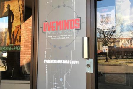 Window graphics for Liveminds Adventure Escape. 12-Point SignWorks - Franklin, TN