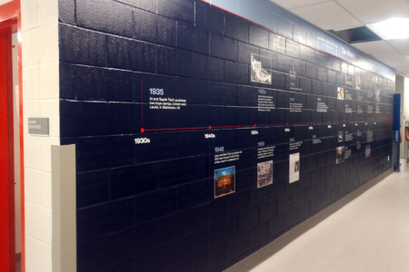 Custom Timeline Wall Covering for Live! by Loews in Arlington, TX / 12-Point SignWorks