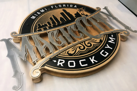 Wood & Metal Logo Sign for Miami's Magic City Rock Gym/ 12-Point SignWorks/ Franklin, TN