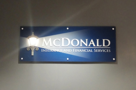 Dimensional Logo Sign for McDonald Insurance & Financial Services in Franklin, TN/ Acrylic Letters & Panels/ 12-Point SignWorks