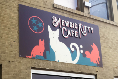 Custom Outdoor Signage for Mewsic Kitty Cafe in Nashville