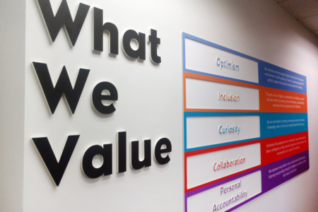 Company Values Wall Display for Monroe Harding/ Franklin, TN/ 12-Point SignWorks