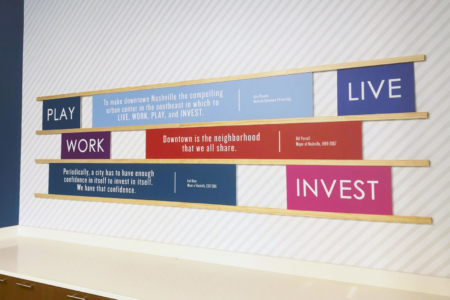 Custom Signage with Wall Mural for Nashville Downtown Partnership (NDP)/ 12-Point SignWorks