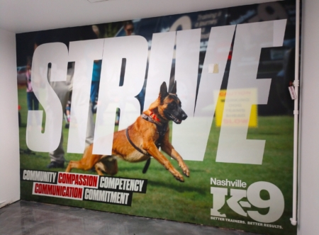 Custom wall mural for the new Nashville K-9 facility. 12-Point SignWorks - Franklin TN