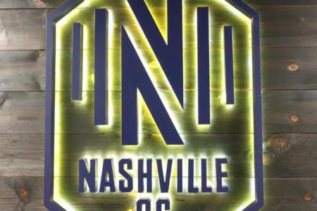 Backlit Logo Sign for Nashville Soccer Club/ 12-Point SignWorks/ Lobby Graphics