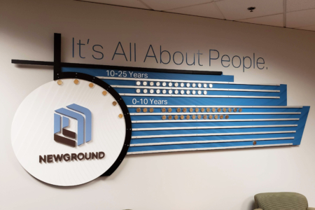 Dimensional Acrylic Wall Display for NewGround/ Installed & Fabricated by 12-Point SignWorks/ Franklin, TN