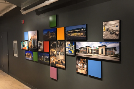 Architectural Photo Display for NewGround in Chicago, IL/ fabricated & installed by 12-Point SignWorks