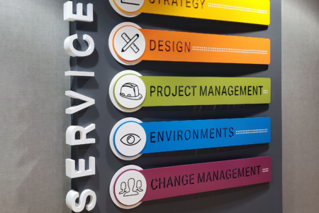 Custom Wall Display for NewGround in St. Louis, MO/ fabricated & installed by 12-Point SignWorks