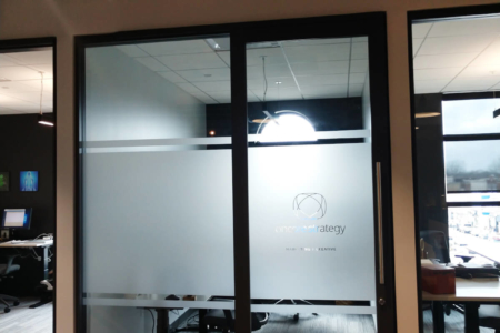 Privacy Window Film for Oncore Strategy at E-Spaces in Franklin, TN by 12-Point SignWorks.