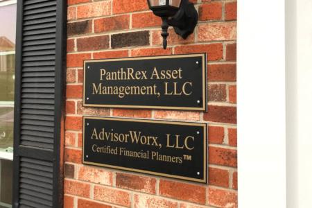 Custom name plaques for PanthRex Asset Management and AdvisorWorx. 12-Point SignWorks - Franklin, TN