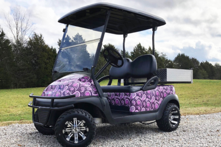 Custom Purple Paisley Golf Cart Wrap Installed by 12-Point SignWorks/ Franklin