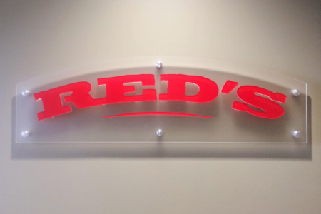 Custom Acrylic Logo Panel for Red's All Natural, LLC/ 12-Point SignWorks