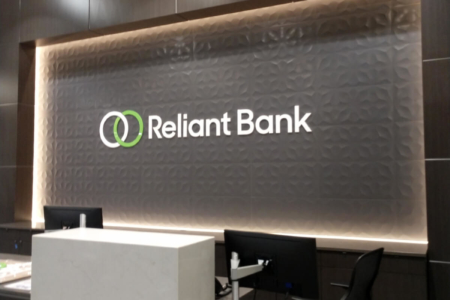 Dimensional Backlit Wall Logo for Reliant Bank/ 12-Point SignWorks/ Murfreesboro, TN
