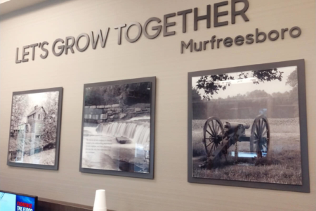 Glossy Acrylic Photo Display and Dimensional Letters for Reliant Bank/Murfreesboro, TN/ 12-Point SignWorks