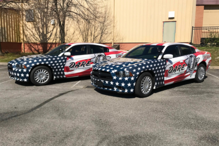 Patriotic Vehicle Wraps for Robertson County Sheriff's Office/ 12-Point SignWorks/ DARE Program