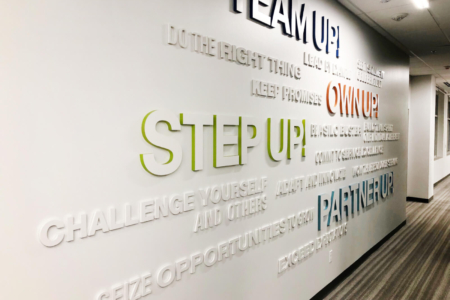 Dimensional Word Wall for SF Police Credit Union in CA/ 12-Point SignWorks/ Wall Graphics
