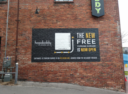 Directional exterior wall graphic for Hopdoddy Burger Bar in Nashville TN. 12-Point SignWorks - Franklin TN