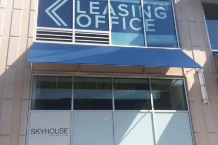 Custom window graphics for Skyhouse Apartments in Nashville. 12-Point SignWorks - Franklin, TN