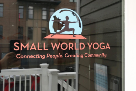 Custom Window Graphics for Small World Yoga by 12-Point SignWorks in Franklin, TN.