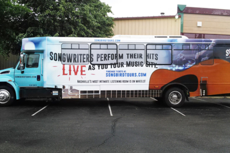 Tour Bus Wrap for SongBird Tours in Nashville, TN/ 12-Point SigWorks/ Window Graphics