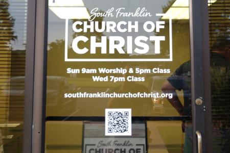Window Graphics for the South Franklin Church of Christ in Franklin, TN by 12-Point SignWorks.