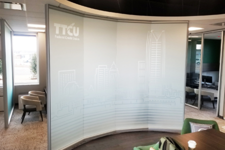 Custom Etched Vinyl Mural for TTCU Federal Credit Union by 12-Point SignWorks.
