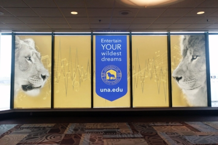 Window Graphics for the University of North Alabama at the Nashville International Airport by 12-Point SignWorks.