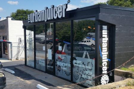 Custom window graphics for The Urban Juicer. 12-Point SignWorks - Franklin, TN