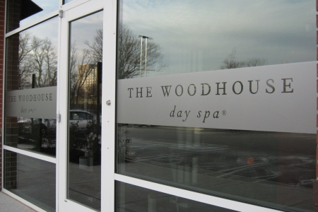 Custom etched window graphics for The Woodhouse Day Spa. 12-Point SignWorks - Franklin TN