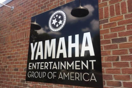 Acrylic Wall Logo on a Textured Surface for YAMAHA Entertainment Group of America/ 12-Point SignWorks